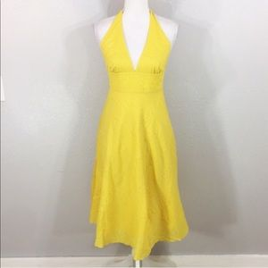 J.Crew Seersucker Halter Dress Embossed Yellow Sz4